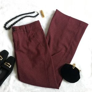 Anthropologie Elevenses Burgundy Trousers